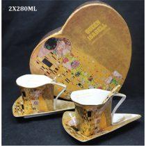 Porceláncsésze+alj háromszögű, 2 személyes, 225ml, Klimt:The Kiss