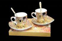 Porceláncsésze+alj szögletes 100ml,kanállal,2 személyes, Klimt:The Kiss