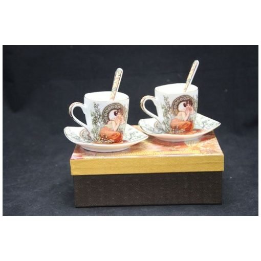 Porceláncsésze+alj szögletes 100ml, 2 személyes,kanállal, Mucha:Topáz fehér