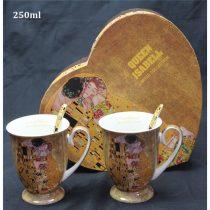 Porcelánbögre kanállal 2db-os, 250ml Klimt:The Kiss