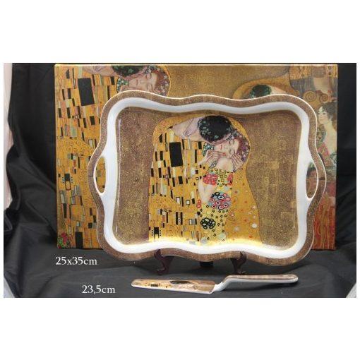 Porcelántálca lapáttal 35X24cm Klimt:The Kiss