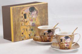 Porceláncsésze+alj kanállal 250ml,2 személyes, Klimt:The Kiss