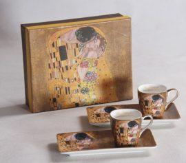Porceláncsésze oldaltálcával 50ml, 2 személyes, Klimt:The Kiss