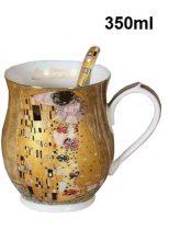 Porcelánbögre kanállal ,korsóforma,350ml,Klimt: The Kiss