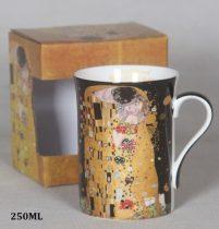 Porcelánbögre 250ml,Klimt:The Kiss,fekete