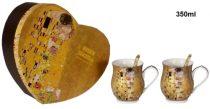 Porcelán bögreszett kanállal 2db-os,korsóforma,350ml, Klimt:The Kiss