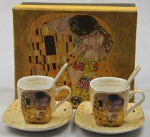 Porceláncsésze+alj szögletes,100ml,kanállal,2 személyes,Klimt:The Kiss,