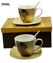 Porceláncsésze+alj szögletes,250ml,kanállal,2 személyes,Klimt: The Kiss