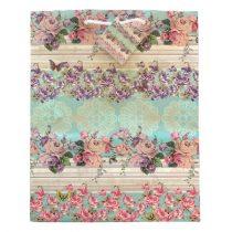 Lila virágos ajándék táska (33x26x13cm)