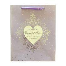 Lila szív ajándék táska (23x18x10cm)