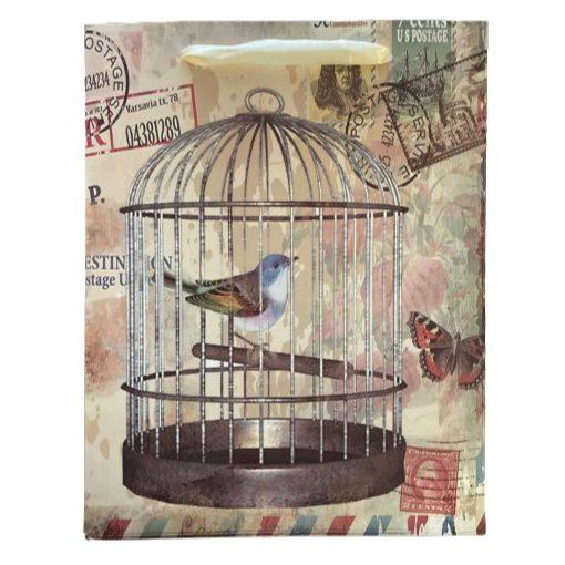 Madárkalitka ajándék táska (23x18x10cm)