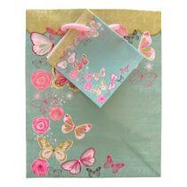 Türkiz lepkék ajándék táska (14x11x6cm)