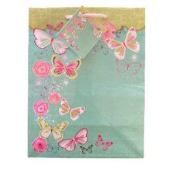 Türkiz lepkék ajándék táska (23x18x10cm)