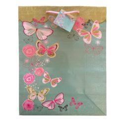 Türkiz lepkék ajándék táska (33x26x10cm)