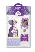 Levendulával töltött Bicolore Violet zsák 18g+levendulaszappan 100g+hímzett kéztörlő 40x60cm, pamut