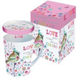 PPD.M602655 Porcelánbögre tetővel 0,25l dobozban,Love grows