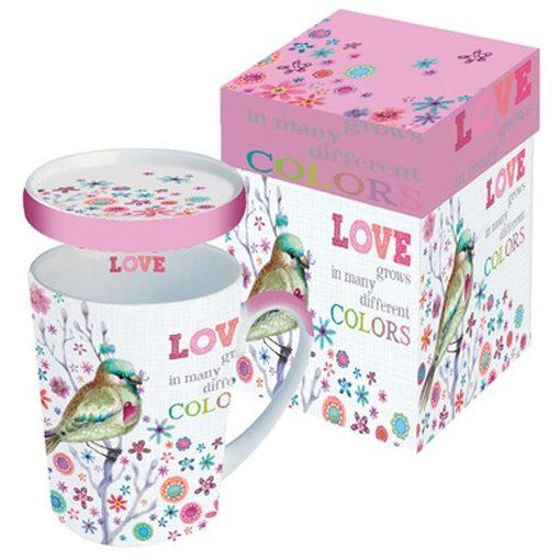 Porcelánbögre tetővel 0,25l dobozban,Love grows