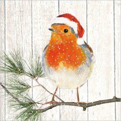 PPD.C3332101 Robin on Xmas Tree papírszalvéta 33x33cm,20db-os