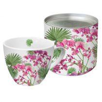 Porcelánbögre 0,45l, dobozban fémtetővel,Orchids&Palms