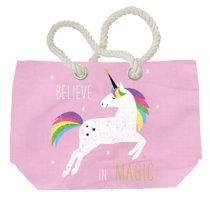 Pink Unicorn vászon strandtáska 55x38cm