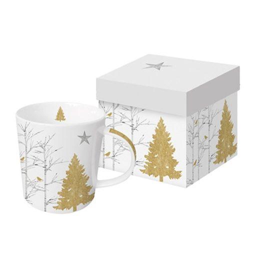 Porcelánbögre 0,35l,dobozban Mystic Tree gold