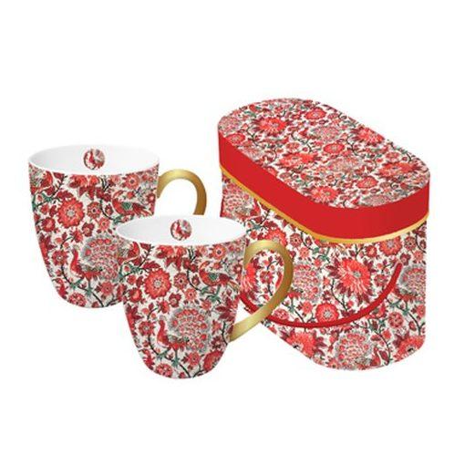 Porcelánbögre 2db-os 0,35l dobozban  Pavone rosso,Tassotti design