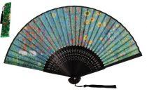 Legyező 37x21x3cm, műanyag/polyester, Klimt: Kert napraforgókkal