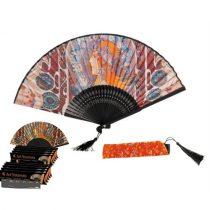 Legyező 37x21x3cm, műanyag/polyester, Mucha: Zodiac