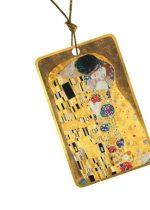 Ajándékkísérő kártya, papír,10db-os,Klimt:The Kiss,arany kerettel