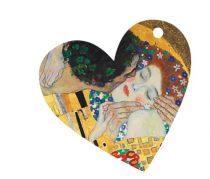Ajándékkísérő kártya, papír,10db-os,szív,Klimt:The Kiss