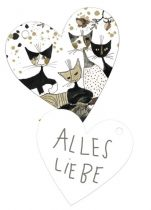 Ajándékkísérő kártya, papír, 10db-os,szív,Rosina Wachtmeister:Cats sepia