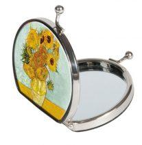 Zsebtükör nagyítós, textilbevonatú, 7x7,6x2,5cm, Van Gogh: Sonnenblumen