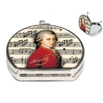 Zsebtükör nagyítós 7x7,5x2,5cm,textilbevonatú,Mozart
