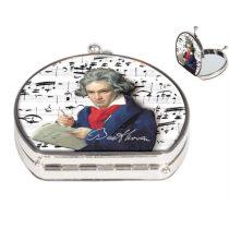 Zsebtükör nagyítós 7x7,5x2,5cm,textilbevonatú,Beethoven