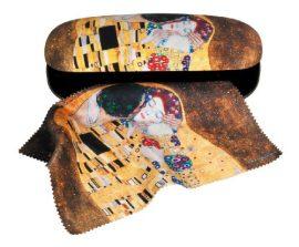Szemüvegtok textilbevonatú,törlőkendővel,16x4x6,5cm,Klimt:The Kiss