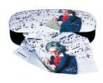 Szemüvegtok textilbevonatú  törlőkendővel,16x4x6,5cm, Beethoven