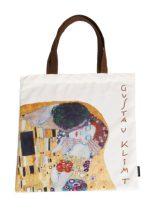 Textil bevásárlótáska 38x40cm, polyester,Klimt:The Kiss
