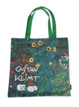 Textil bevásárlótáska 38x40cm, polyester, Klimt:Kert napraforgókkal