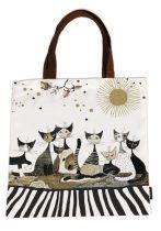 Textil bevásárló táska 38x40cm, polyester, Rosina Wachtmeister:Cats Sepia