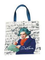 Textil bevásárlótáska 38x40cm, polyester, Beethoven