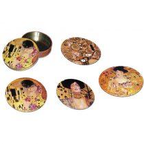 Poháralátét fém-parafa 4db-os szett fémdobozban, Klimt vegyes