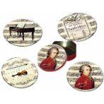 FRI.17946 Poháralátét fém-parafa 4db-os szett dia 9,5cm,fémdobozban,Mozart