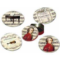 Poháralátét fém-parafa 4db-os szett dia 9,5cm,fémdobozban,Mozart