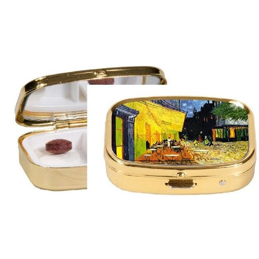 Gyógyszeres fémdoboz 2 fakkos, 5,1x1,8x3,6cm,van Gogh:Kávéház éjjel
