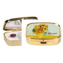 Gyógyszeres fémdoboz 2 fakkos, 5,1x1,8x3,6cm,Van Gogh:Napraforgók