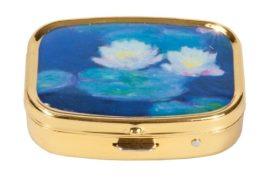 FRI.18256 Gyógyszeres fémdoboz 2 fakkos, 5,1x1,8x3,6cm Monet:Seerosen