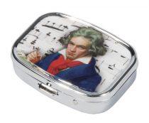 Gyógyszeres fémdoboz 2 fakkos, 5,1x1,8x3,6cm, Beethoven