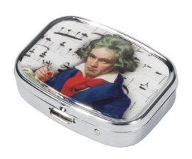 FRI.18266 Gyógyszeres fémdoboz 2 fakkos, 5,1x1,8x3,6cm, Beethoven
