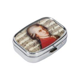 Gyógyszeres fémdoboz 2 fakkos, 5,1x1,8x3,6cm, Mozart