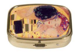 Gyógyszeres fémdoboz 2 fakkos, 5,1x1,8x3,6cm, Klimt:The Kiss
